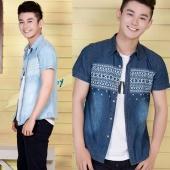 Korean Fashion Men Turn-down Collar Short Sleeve Slim Fitted Casual Jeans Shirts