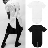 Men Summer Casual Cool Hip Hop Style round Neck Short Sleeve Irregular Zipper Solid T Shirt