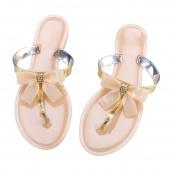 Fashion Women's Casual T Type Flat Heel Bow Decor Slipper Casual Beach Slipper Shoe