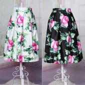 European Style New Fashion Retro Lady Women Elastic Waist Floral Midi Skirt