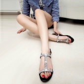 Fashion Women Synthetic Leather Resin Rhinestone Sandal Flat Heel Peep-toe Roman Shoe Black