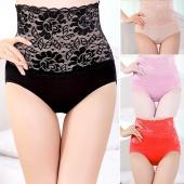 Sexy Women Lace Mesh Splice High Waist Panties Briefs Underwear Bodyshaper