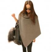 Women Fashion Cape Poncho Cloak Coat Tops Jackets Outwear Overcoats Gray Black