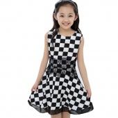 Children Kids Girl's Wear Casual Sleeveless O-neck High Waist Plaid A-line Dress