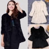 Stylish Women's Ladies 3/4 Sleeve Warm Thickening Faux Fur Jacket Coat