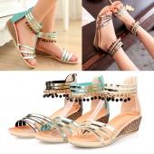 Fashion Women Bohemia Style Beads Wedge Sandals Medium Heel Peep-toe Roman Casual Beach Sandals
