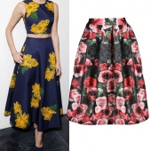 Stylish Lady Women Elegant High Waist Flower Print Pleated Casual Skirt