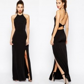 Sexy Women Halter Sleeveless Cross Back Solid Slim Casual Long Dress