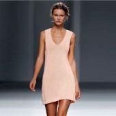 Fashion Lady Women Elastics V-neck Sleeveless Tank Beach Dress Cover Ups