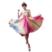 Stylish Lady Women Summer Fashion Gradient Color Two Ways Wears Strapless Dress Skirt