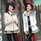 Womens Winter Padded Jacket Was Thin Cloak Lotus Leaf Collar Cotton Coat Jacket