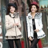 Womens Winter Padded Jacket Was Thin Cloak Lotus Leaf Collar Cotton Coat Jacket