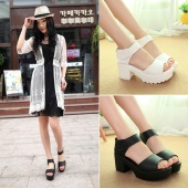 Summer Women Chunky Platform Sandals High Heel Ankle Strap Open Toe Sandals Shoes