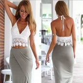 Sexy Women Halter Strap Lace Crochet Deep V-Neck Tank Vest Hollow Out Backless Sleeveless Crop Tops