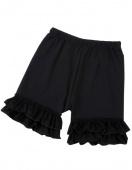 Children Kids Girl's Wear Casual Elastic Waist Solid Flouncing Trim Shorts
