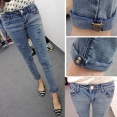 Fashion Women Slim Hole Ripped Jeans Skinny Tight Hollow Out Denim Pencil Pants