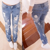 Fashion Women Casual Slim Hole Ripped Jeans Hollow Out Denim Pants