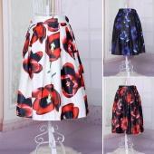 Fashion European Style Women's Elastic Waist Printed A-line Loose Puff Midi Skirt