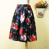 European Style Lady Women New Fashion Vintage Style Elastic Waist Floral Midi Skirt