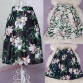 Elegant Ladies Summer Retro Style Floral High Waist Pleated Casual Skirt