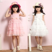 Cute Kids Girls Elegant O-Neck Net Yarn Patchwork Lace Hem Multilayer Cake Dress Fancy Dress