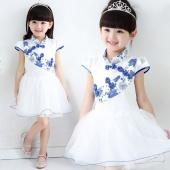Elegant Girls Chinese Style Print Net Yarn Patchwork Multilayer Dress Fancy Dress