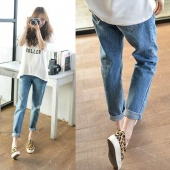 Fashion Women Casual Loose Hole Ripped Boyfriend Jeans Solid Denim Pants