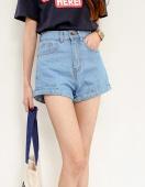 Fashion Women High Waist Casual Denim Shorts Solid Classic Loose Jeans Shorts
