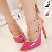 Fashion Women's 11.5cm High Heel Rivet T-Strap Closed-Toe Pointed Ankle Buckle Stiletto Sandals Shoes