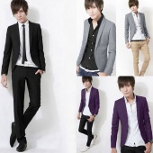 Stylish Men One Button Suit Slim Fit Casual Business Suit Blazer Coat