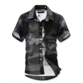 Fashion Men Lapel Neck Short Sleeve Patchwork Loose Casual Career Button Down Shirts