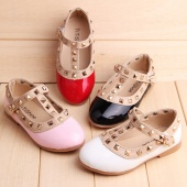 Fashion Girl Kids Toddler's Sandals Rivet T-strap Flats Pointed Toe Shoes