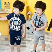 Kids Boys Wear Cute Short Sleeve Print Hoodie Tops with Cap And Baggy Shorts 2pcs Casual Sports Sets