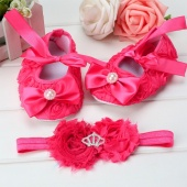 Fashion Baby Girl's Bow Tie Floral Bead Decoration Loafers Toddler Shoes And a Elastic Head Band