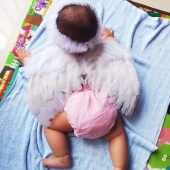 Fashion Infant Newborn Baby Feather Headband Wing Photography Accessory Prop