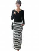 Fashion Women Sexy High Waist Striped Stretch Bodycon Package Hip Casual Skirt
