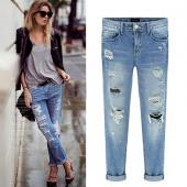 Fashion Women Casual Slim Pencil Pants Skinny Ripped Jeans Denim Trousers