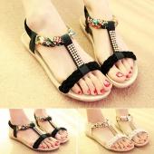 Fashion Ladies Women Flat Heel Rhinestone Decoration Open Toe Elastic Strap Sandals Shoes
