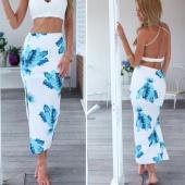 Stylish Ladies Women Casual Print Package Hip Skirt High Waist Side Split Slim Skirt