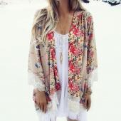 Lady Women's Fashion Floral Print Loose Long Chiffon Cardigan Top Blouse