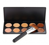 10 Colors Professional Neutral Face Cream Makeup Concealer Cosmetic Set Palette with Brush