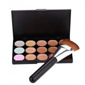 Fashion 15 Colors Contour Face Cream Makeup Concealer Palette with Cosmetic Powder Brush