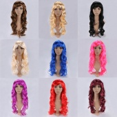 Fashion Women Sexy Long Curly Wavy Synthetic Hair Cosplay Full Wigs