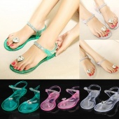Fashion Women Casual Transparent Summer Flip Flops Beach Flat Sandals