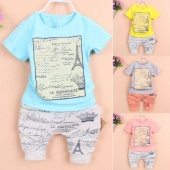 Fashion Summer Children Boys O-Neck Short Sleeve Print T-Shirt Tops Elastic Waist Pocket Baggy Shorts Two Piece Set