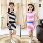 Cute Kids Girls Fashion Korean Style O-Neck Striped Casual Mini Dress