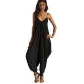 Women V Neckline All in One Beach Jumpsuit Playsuits Pants Catsuit Trousers Rompers