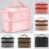 Women Zipper Double Layered Character Cosmetic Case Makeup Bag