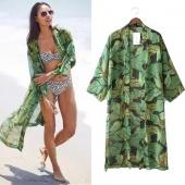 Summer Women Casual Loose Print Chiffon Long Kimono Cardigan Blouse Tops