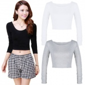 Lady Women's Sexy Bodycon Slim O-Neck Long Sleeve Solid Crop Top